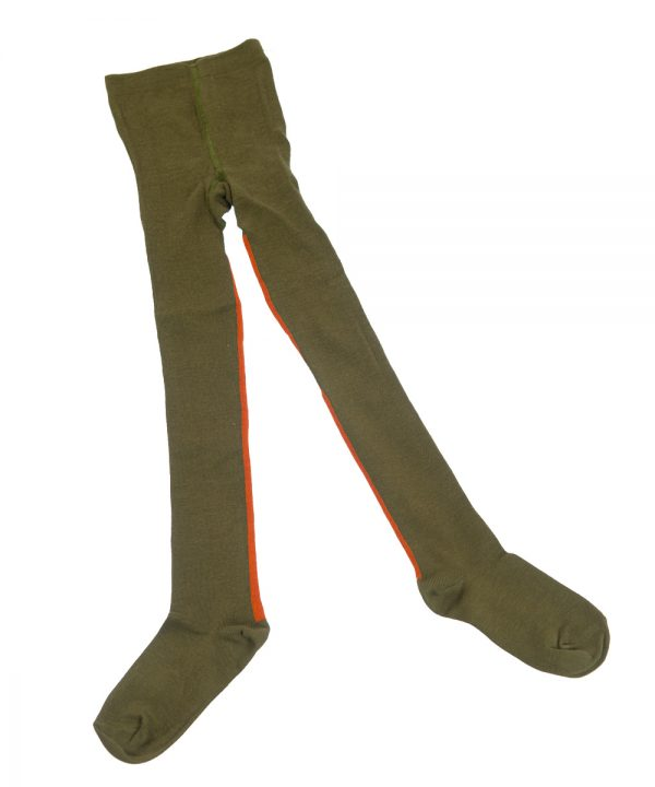 Little Hedonist Ribbed Tights Army Green