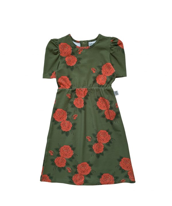 One Day Parade Puffed Dress Green Roses