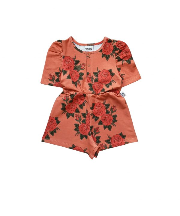 One Day Parade Puffed Playsuit Pink Roses